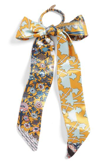 Tasha Colorful Tie Bow Ponytail Holder, Size - Orange