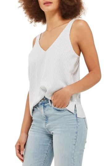 Women's Topshop Stripe Camisole Top Us (fits Like 0) - White