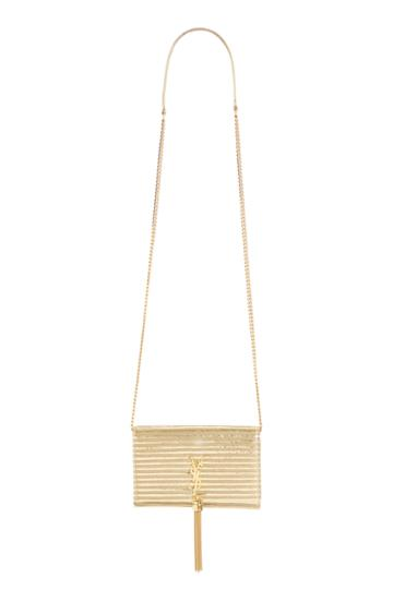 Women's Saint Lauren Kate Stripe Lame Wallet On A Chain - Metallic