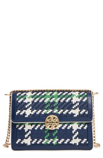 Tory Burch Duet Woven Leather Shoulder Bag - Blue