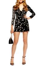 Petite Women's Topshop Spot Frill Satin Minidress P Us (fits Like 00p) - Black