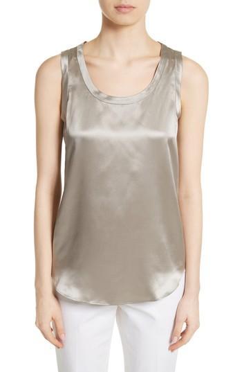 Women's Lafayette 148 New York Perla Reversible Silk Blouse, Size - Grey