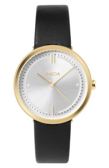 Women's Breda Agnes Leather Strap Watch, 34mm