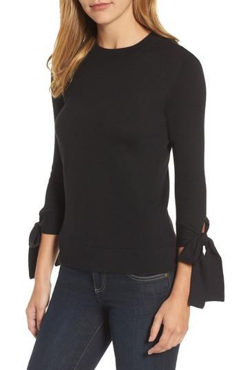 Petite Women's Halogen Tie Sleeve Crewneck Sweater, Size P - Black