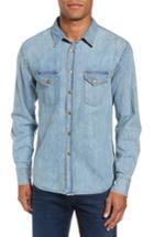Men's Billy Reid Distressed Denim Western Shirt