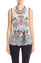 Women's Yigal Azrouel Floral Embroidered Lace Top