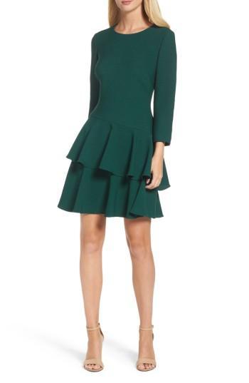 Petite Women's Eliza J Tiered Ruffle Knit Dress P - Green