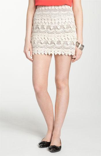 Lush Banded Crochet Skirt (Juniors) Cream X-Small