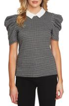 Women's Cece Puff Sleeve Check Knit Top - Black