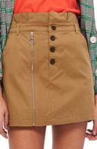 Women's Topshop Utility Button Miniskirt Us (fits Like 0) - Beige