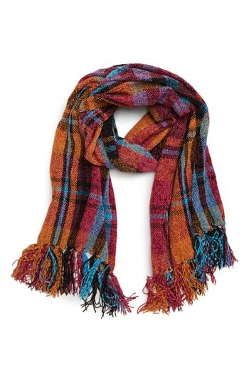 Women's David & Young Plaid Chenille Scarf, Size - Blue
