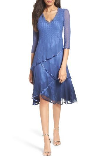 Petite Women's Komarov Embellished Tiered Chiffon Dress P - Blue