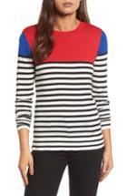 Women's Halogen Colorblock Stripe Sweater, Size - Red