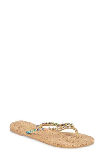 Women's Lily Pulitzer Naples Chain Trimmed Flip Flop M - Brown
