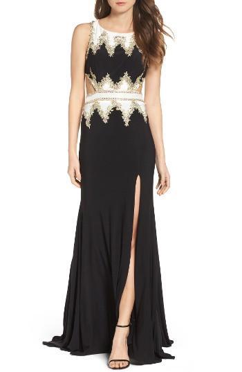 Women's Mac Duggal Embellished Cutout Jersey Gown
