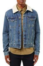 Men's Topman Borg Denim Jacket, Size - Blue
