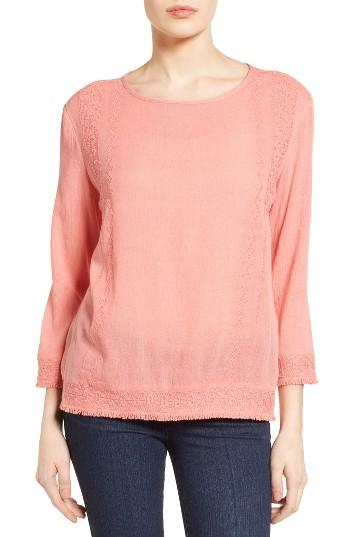 Petite Women's Caslon Embroidered Crinkle Cotton Blend Top, Size P - Pink