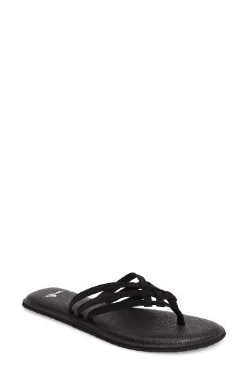 Women's Sanuk Yoga Salty Flip Flop M - Black