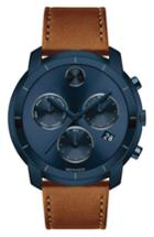 Men's Movado Bold Thin Chronograph Leather Strap Watch, 44mm