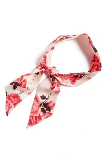 Women's Kate Spade New York Rosa Silk Skinny Scarf, Size - Pink