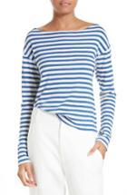Women's Vince Bold Stripe Boatneck Tee - Blue
