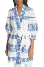 Women's Milly Mykonos Embroidered Tie Waist Linen Dress, Size - White