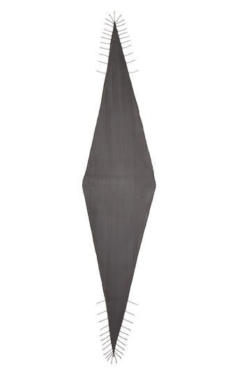Women's Saint Laurent Losange Chain Fringe Silk Scarf, Size - Black