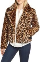 Women's Rebecca Minkoff Faux Fur Moto Jacket, Size - Black