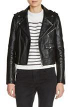 Women's Maje Lambksin Leather Moto Jacket - Black