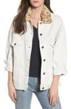 Women's Obey Wily Rider Jacket With Removable Faux Fur Collar - White