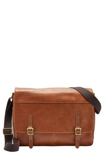 Men's Fossil 'defender' Leather Messenger Bag - Brown