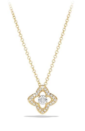 Women's David Yurman 'venetian Quatrefoil' Necklace With Diamonds In Gold