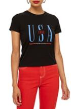 Women's Topshop Usa 1998 Tee Us (fits Like 0) - Black