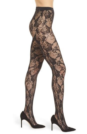 Women's Wolford Louise Floral Fishnet Tights - Black