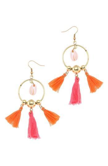Women's Nakamol Design Tiny Tassel Hoop Earrings