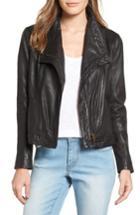 Petite Women's Caslon Leather Jacket P - Black