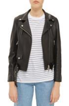 Women's Topshop Boutique Belted Leather Biker Jacket Us (fits Like 0) - Black