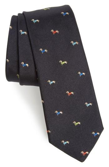 Men's Paul Smith Dog Print Silk Tie, Size - Blue