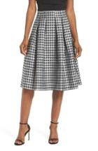 Women's Eliza J Houndstooth Pleated Skirt - Black