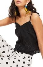 Women's Topshop Broderie Camisole Top Us (fits Like 0) - Black