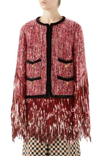Women's Gucci Sequin Tweed Jacket Us / 40 It - Pink