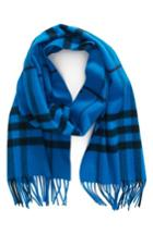 Women's Burberry Overdyed Giant Check Cashmere Scarf, Size - Blue