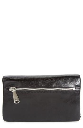Women's Hobo West Calfskin Leather Wallet - Black
