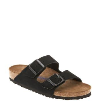 Women's Birkenstock 'arizona' Soft Footbed Suede Sandal -7.5us / 38eu D - Black