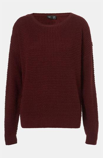 Topshop Textured Knit Sweater Aubergine 6