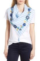 Women's Rebecca Minkoff Embroidered Stripe Square Scarf, Size - Blue
