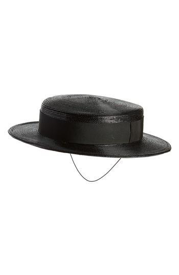 Women's Saint Laurent Boater Hat, Size Medium - Black