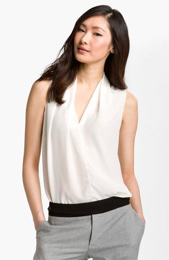 Rachel Roy Woven Silk Shell Blouse Natural White X-small
