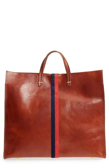 Clare V. Rustic Simple Stripe Leather Tote - Brown