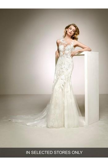 9c8fcc383d4 Women s Pronovias Dalia Illusion Lace   Tulle Column Gown
